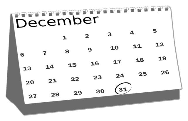 年末大掃除をいつ始める?カレンダー画像